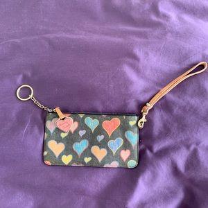 Dooney and Burke hearts wristlet w/ rainbow zipper